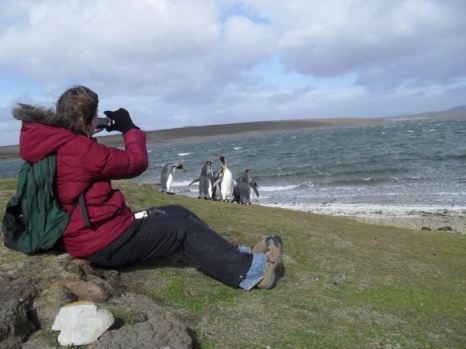 Enjoying the views at Volunteer Point in the Falklands