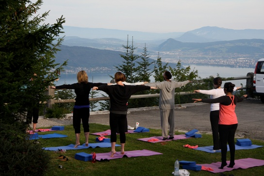 Morning Pilates in the Alps