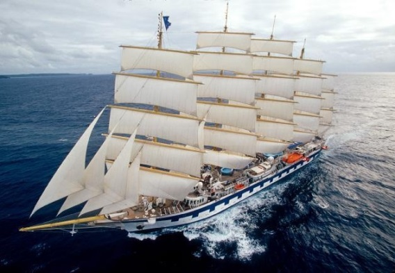 Royal Clipper tall cruise ship at sea