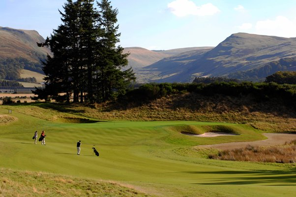 Golfers play the first hole of the PGA Centenary Golf Course at Gleneagles, Perthshire