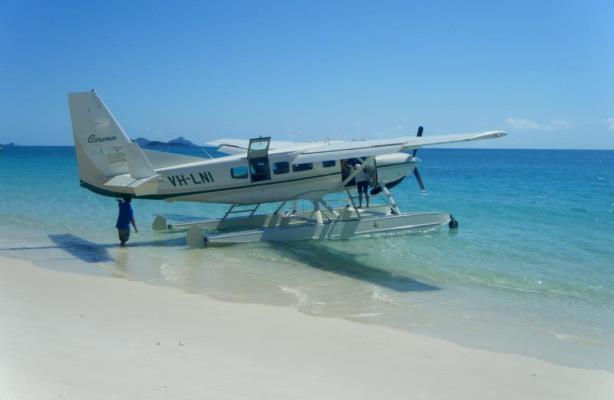 Seaplane on Whitehaven Beach, Australia