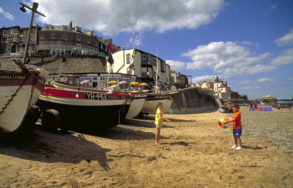 children on the beach, Cromer, Norfolk, England.