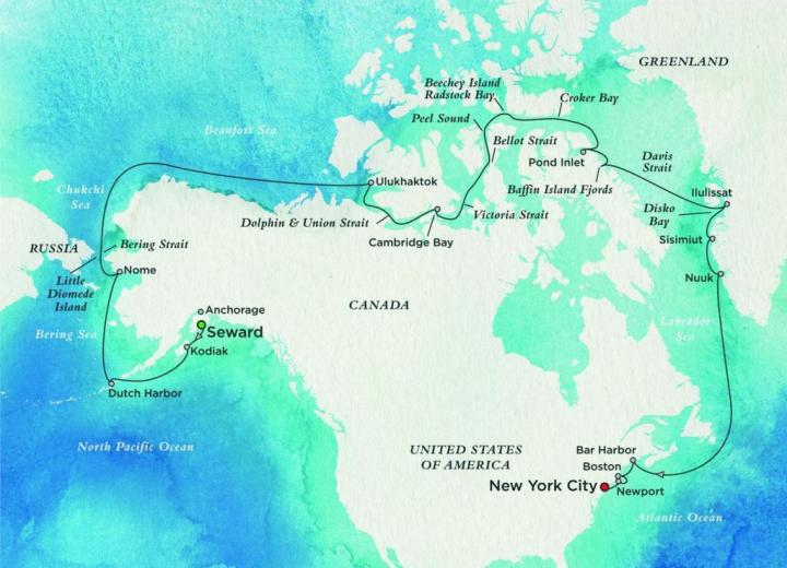 The journey map of Northwest Passage cruise