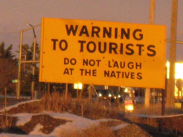 Tourist warning sign