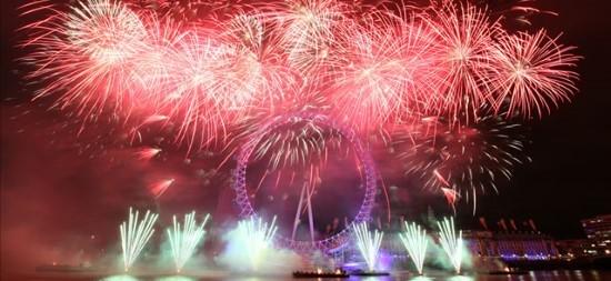 London Eye fireworks at New Year