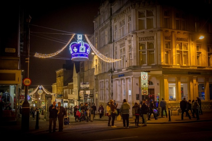 Christmas lights in Windsor town centre