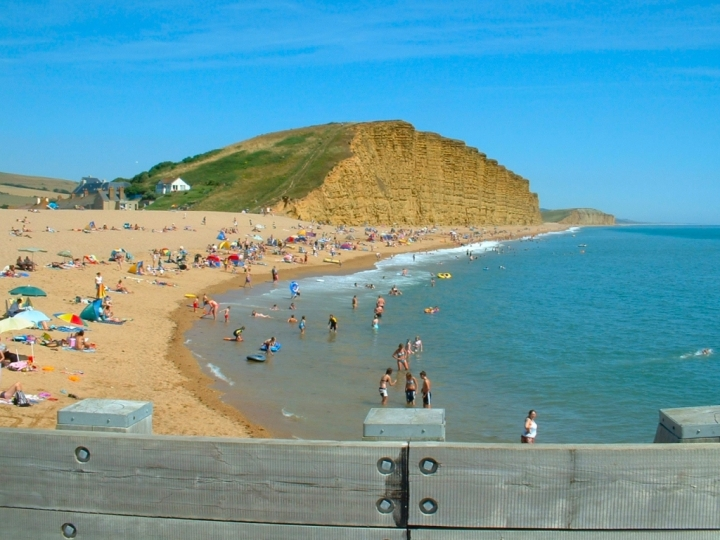 East Beach and East Cliff at West Bay in Dorset