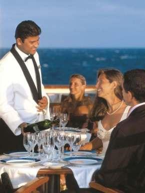 Enjoying wine on a SeaDream cruise holiday