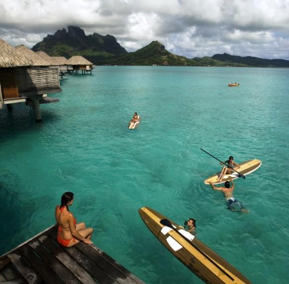 Paddle boarding at the Four Seasons on Bora Bora