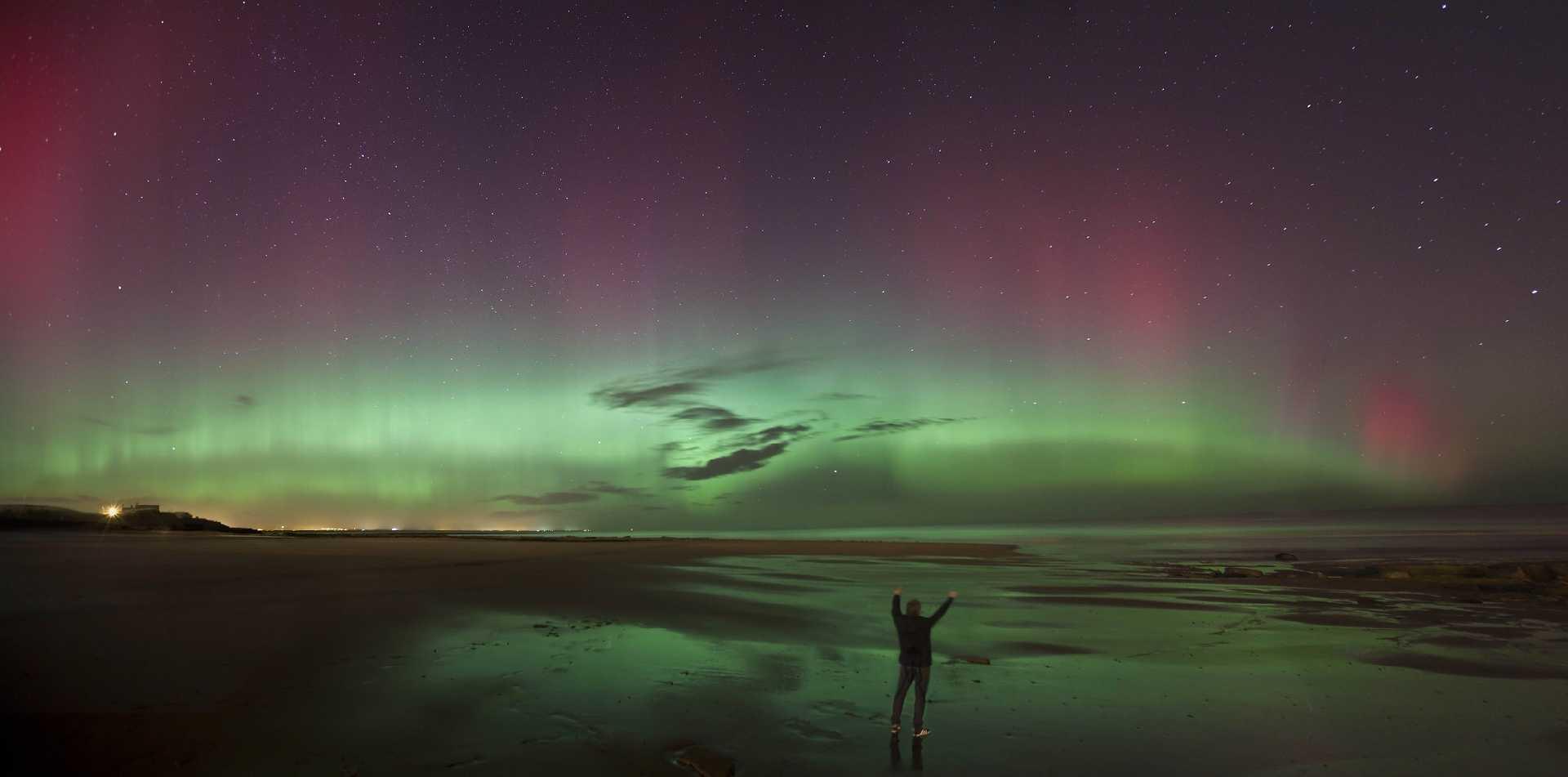 Aurora Borealis at Cresswell Beach, Northumberland