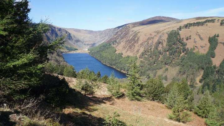 View of Glendalough lakes from the Wicklow Way, Ireland